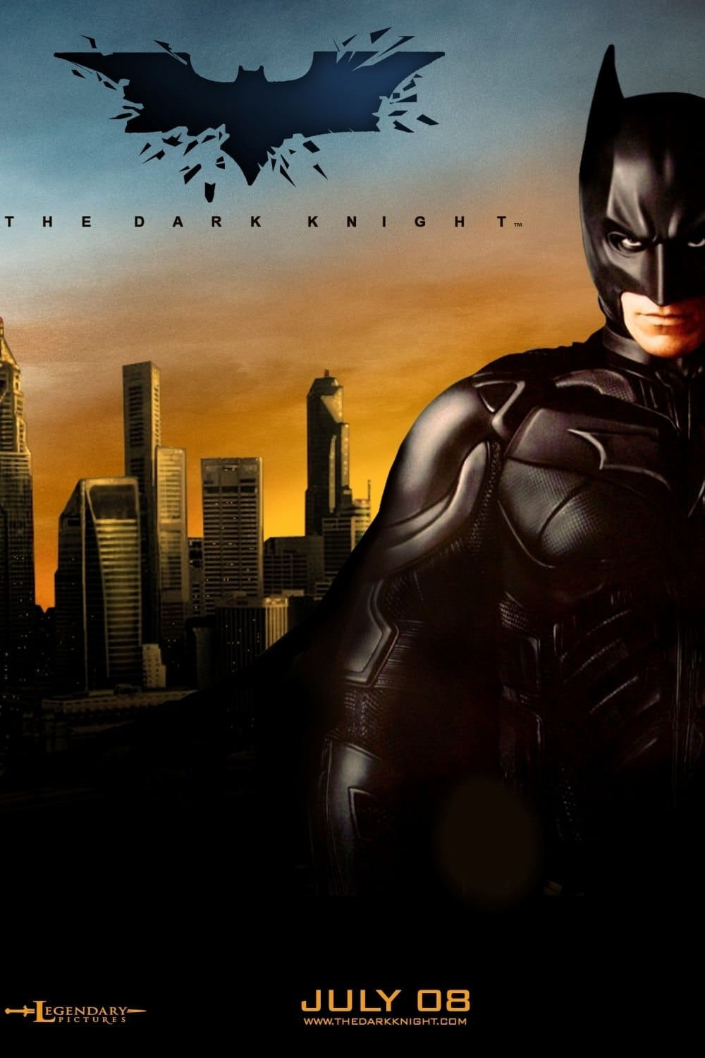 the dark knight poster high quality HD printable wallpapers 2008 batman in gotham city at evening
