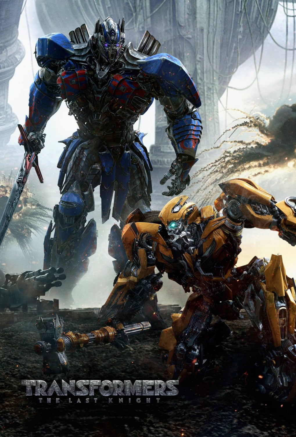 the last knight poster high quality HD printable wallpapers 2017 bumblebee and optimus prime fight scene