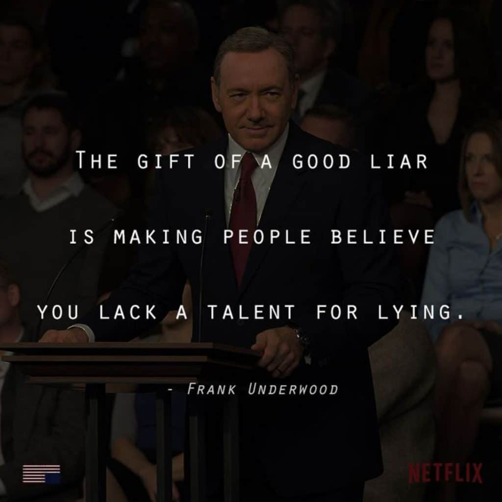 house of cards Frank's famous dialogue f