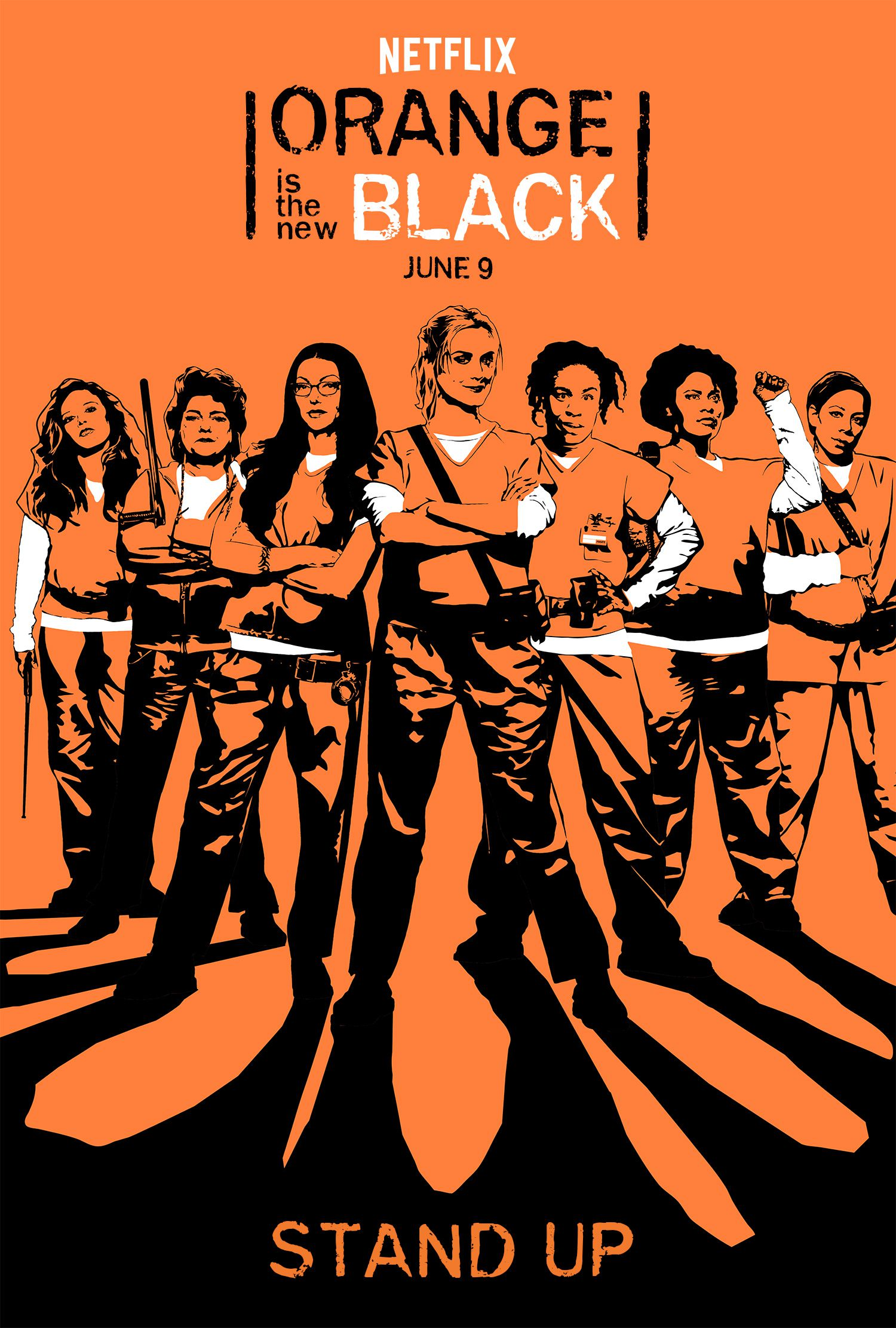 orange is the new black poster of all prisoners in orange suits