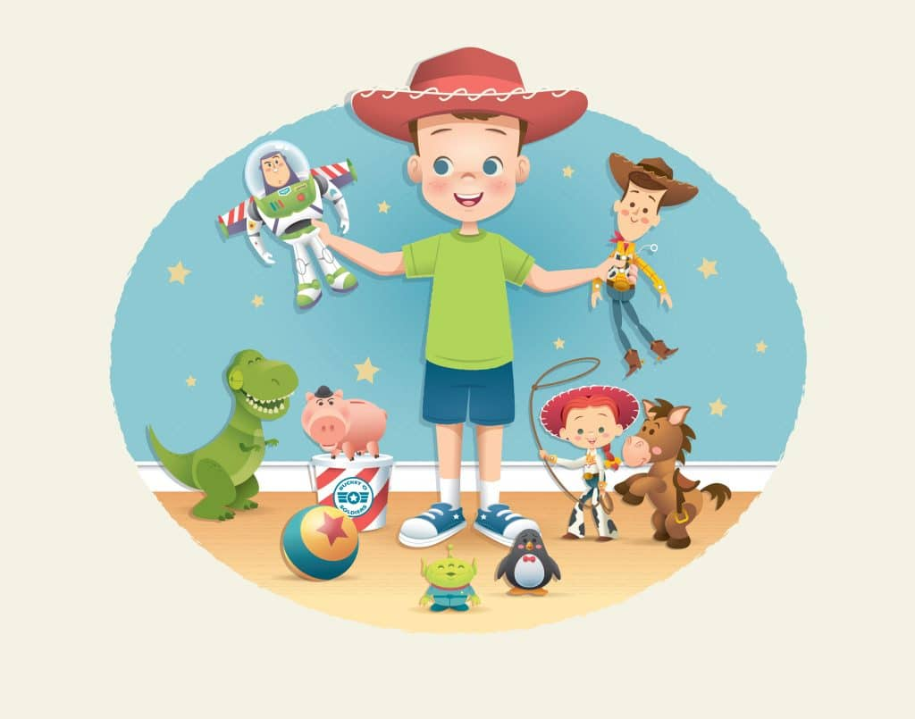 toy story image of andy with all toys