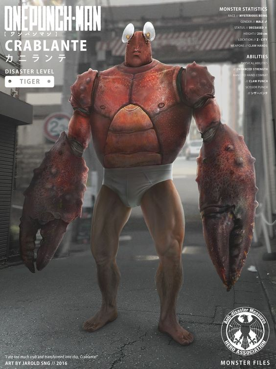 crablante one punch man poster