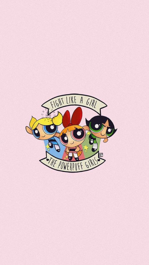 powerpuff girls image of all three girls with famous quote fight like a girl