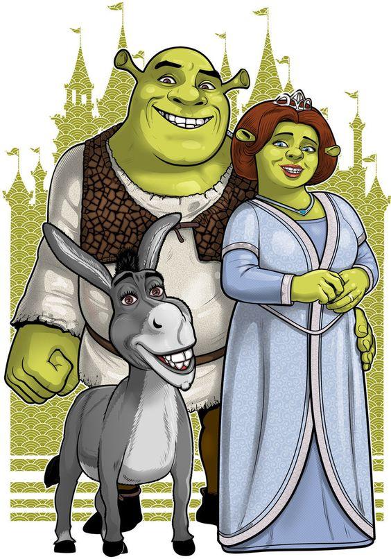 shrek poster of shrek princess fiona and donkey
