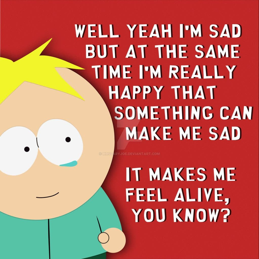 south park poster of butters famous quote