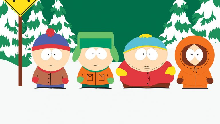south park poster of all boys in snow