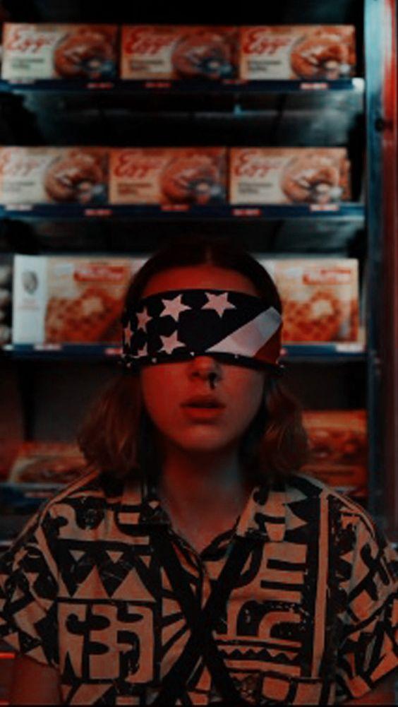 stranger things season 3 poster of Eleven blindfolded