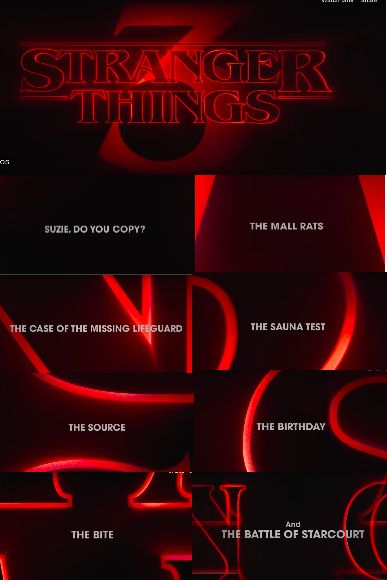 stranger things season 3 poster of all episodes with name