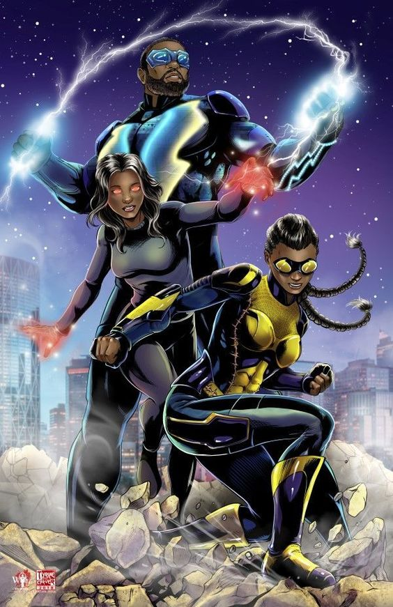black lightning poster of the jefferson family all three members