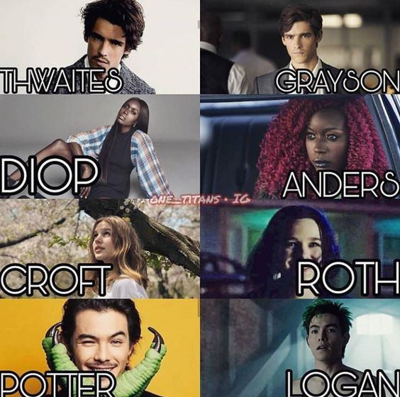 titans poster of character who played the roles