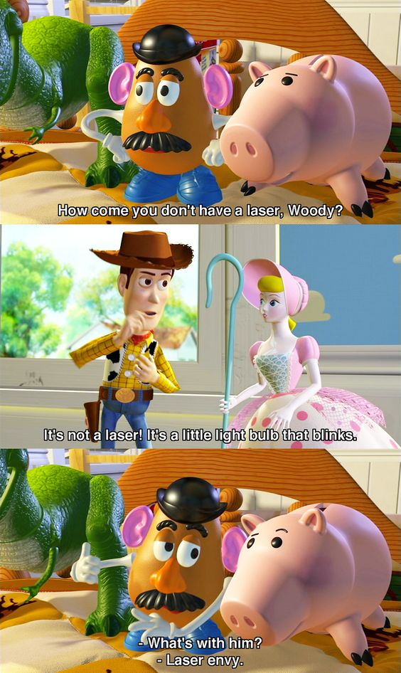 toy story image of famous dialogue laser envy