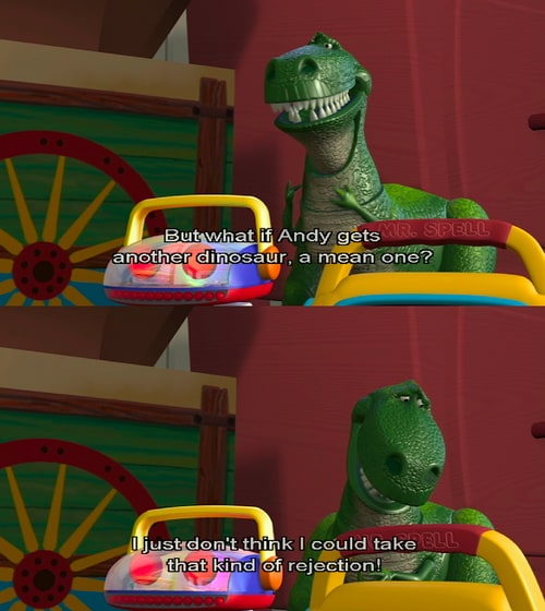 toy story image of famous dialogue by Rex