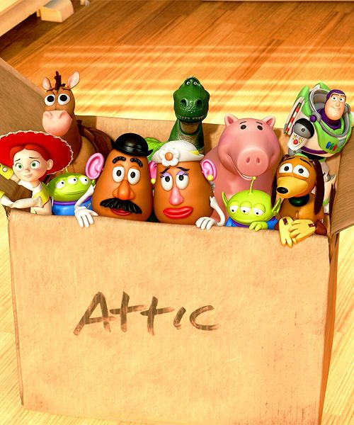 toy story 3 image of all the toys in a box going to the attic