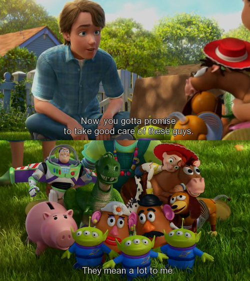 toy story 3 image of famous dialogue by andy to bonnie