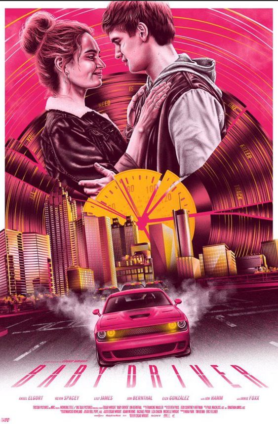 baby driver poster of baby and debora