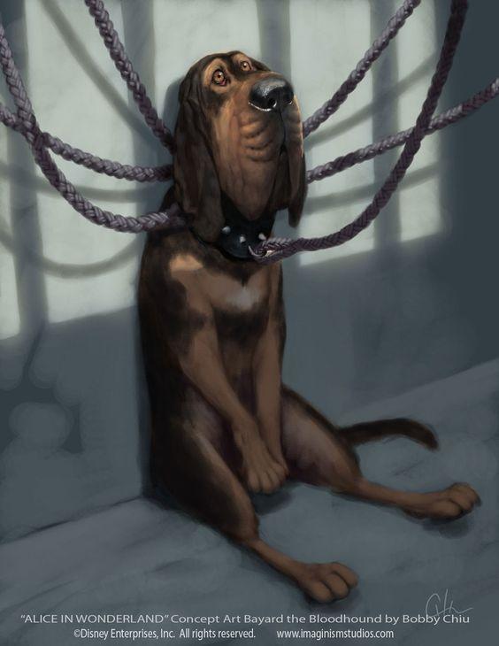 alice in wonderland image of bloodhound