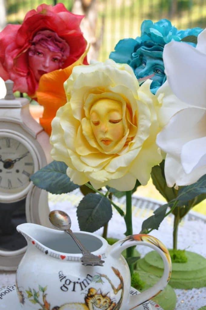 alice in wonderland image of talking flowers